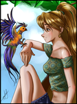 Clau and Paradise Bird by rulopotamo