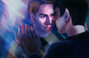 Kirk x Spock Through Glass by TechnoRanma