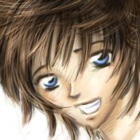 Manga boy with blue eyes by Renchee