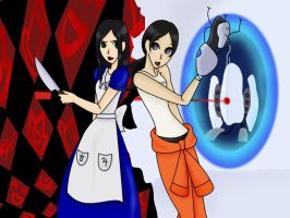 Alice and Chell by Pisces1090