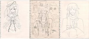 Kuroshitsuji Sketches(before the color~!) by TheUndertakersKitty