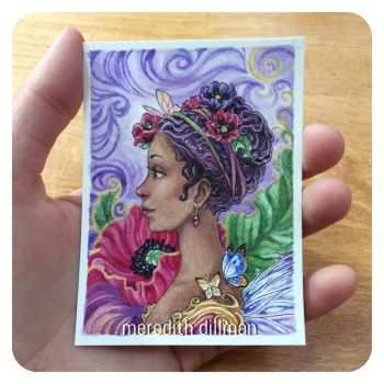 Purple Poppies ACEO by MeredithDillman