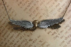 Death Wing Dragonfly Necklace by FusedElegance