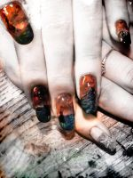 """Enter Mordor"" nail art inspired by LotR by Undomiele"
