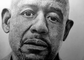 Photorealistic portrait Forest Whitaker + video by Saules-dievas