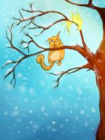 a cat and a a tree by AbussLunaris