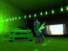 Queen Chrysalis with her Scion tC by Clayranger143