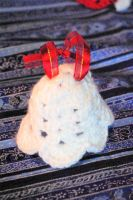 White Sparkle Crocheted Bell Ornament by AlleyKat666