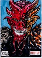 Red Demon Sketch card for Unstoppable cards by dsilvabarred