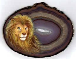 Lion on Agate by Nevuela