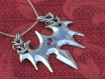 Pendant with amethyst and chain mail by Licataknives