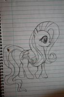 My first time drawling FlutterShy or any pony. by ButtonsTheCatt