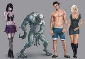 Second Life character concepts by Hamilton74