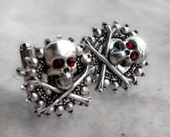 Skull and Bones Cufflinks by Aranwen