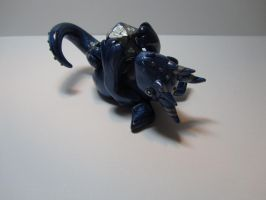 Dice Dragon - Blue/Silver Marbled by LittleFatDragons