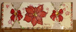 Red and Gold Pointsetta Cracker Card by blackrose1959