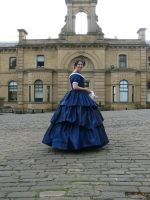 blue 1850s gown by Abigial709b