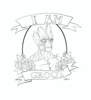 I AM GROOT - Tattoo Design Commission - Lines by die-BeckX