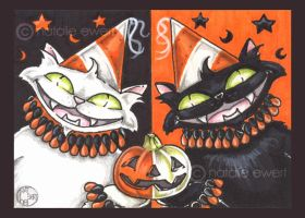 Halloween Party Cats ACEO by natamon