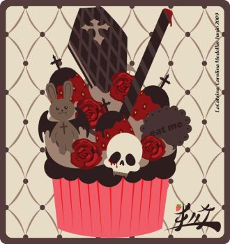 Gothic Lolita Cupcake by LaCatrina
