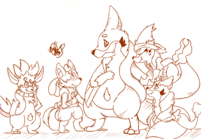 Aqueus and his cousins by DarkAmphy