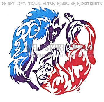 Wolf And Cougar Color Tattoo by WildSpiritWolf