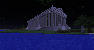 Minecraft - Temple of Artemis at night by MinecraftArchitect90