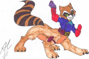 Rocket Raccoon Taur Comm. 2 - Colored by dragonheart07