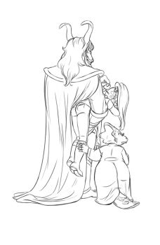 Asgore, Undyne and Alphys line work by oennarts