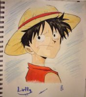 Monkey D. Luffy Cute Face by InitiallyBones