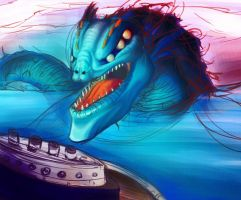 Sea monster unfinished by BinaryDood