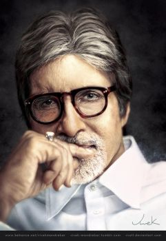 AMITABH BACHCHAN Realism Digital Painting by VVOLT