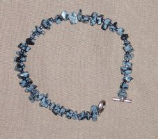 Snowflake Obsidian Bracelet by Lost-in-the-day
