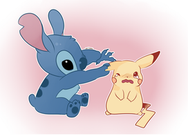 Stitch and Pikachu by SeviYummy