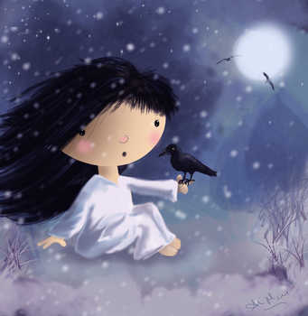 Winter with my crow by AliMacArt