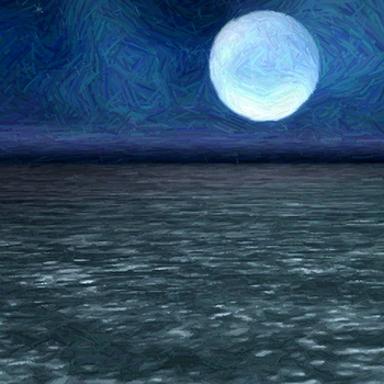 Moon over Sea - Sharpened and Colored Pencil by Arkylie