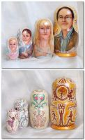 Family portrait on nested doll by Svetlana-Eliro