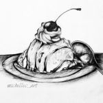 Chocolate Ice Cream With Cherry On Top Drawing by MichelleCArt