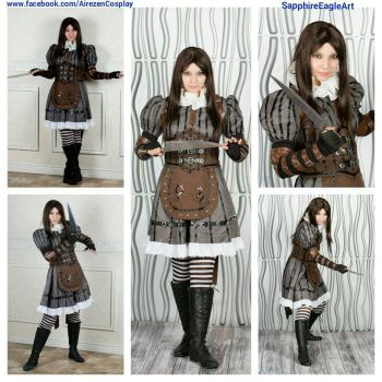 Alice Cosplay Steamdress Collage  by SapphireEagle