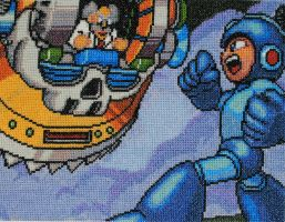 Mega Man Cross Stitch by LittleSymmetry
