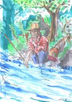 Summer doodles: Super-Quick Fisherman by drugTito