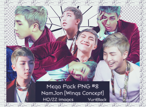 Mega Pack PNG #8 - RapMonster-BTS [Wings Concept] by YuriBlack