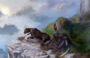 Drizzt on guard by Z10