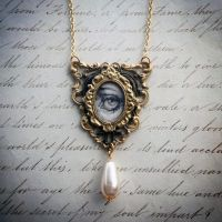 Hand Drawn Lovers Eye Necklace by asunder