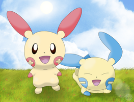 Plusle and Minun by pokelugia