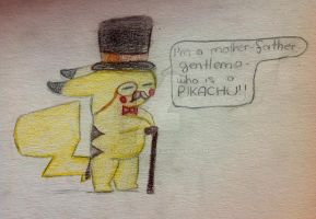 Art Trade with ApplesOuO: Gentleman Pikachu by Ayukiyama