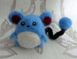 Needle Felted Fuzzy Marill by Charlottejks