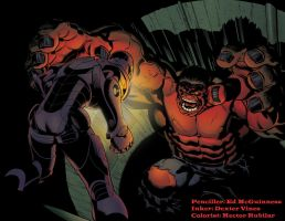 Red Hulk vs Iron Man by HectorRubilar