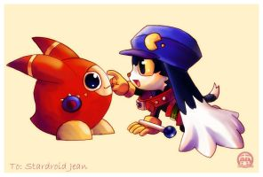 Klonoa Art Trade for Jean by purplerubyred