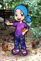 A Girl with her chickens by didihime